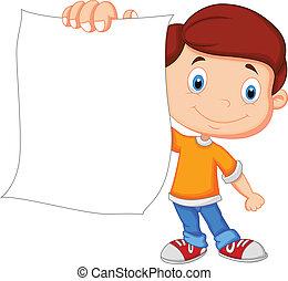 spotprent, jongen, vasthouden, leeg, papier