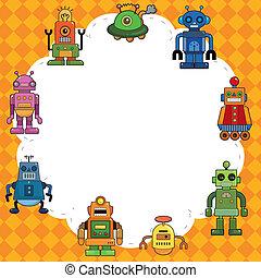 spotprent, kaart, robot
