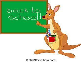spotprent, kangoeroe, dichtbij, chalkboard