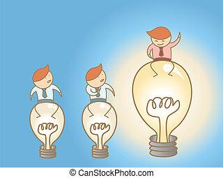 spotprent, karakter, concept, van, denken, groot