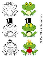 spotprent, karakters, frogs, schattig
