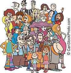 spotprent, karakters, mensenmassa