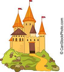 spotprent, kasteel
