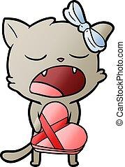 spotprent, kat, met, valentines, cadeau