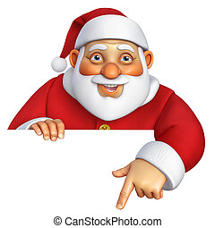 spotprent, kerstman, 3d
