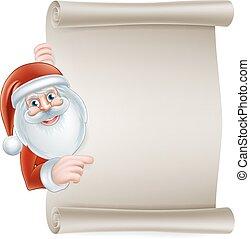 spotprent, kerstman, boekrol, meldingsbord
