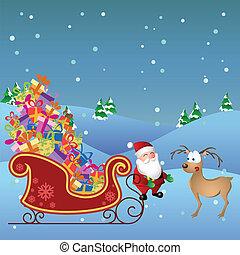 spotprent, kerstman, met, hertje, en, sled