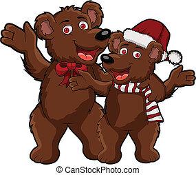 spotprent, kerstmis, beer, funnny