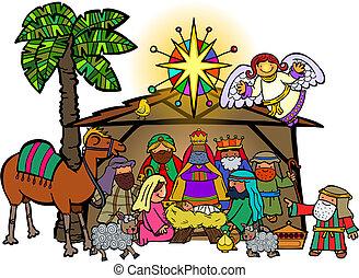 spotprent, kerstmis geboorte scène