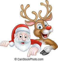 spotprent, kerstmis, kerstman, en, rendier