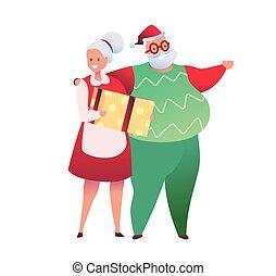 spotprent, kerstmis, ontwerp, paar, vector, senior