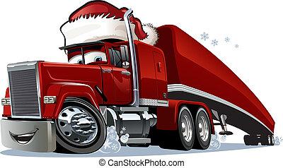 spotprent, kerstmis, vrachtwagen