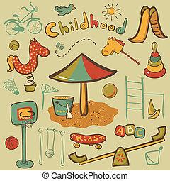 spotprent, kinderen, speelplaats, pictogram
