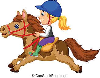 spotprent, klein meisje, paardrijden, een, pony, h