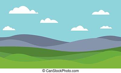 spotprent, kleurrijke, vector, plat, illustratie, van, berg landschap, met, weide, onder, blauwe hemel