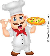 spotprent, kok, karakter, met, pizza