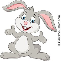 spotprent, konijn, het poseren, schattig