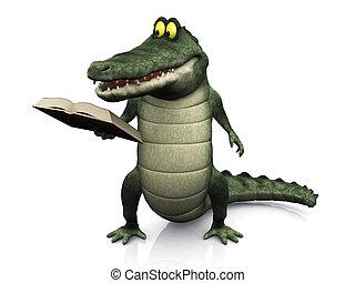 spotprent, krokodil, lezende , book.