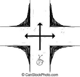 spotprent, kruispunt, man, beslissing maken, staand, over, of, zakenman, toekomst, vector, illustratie