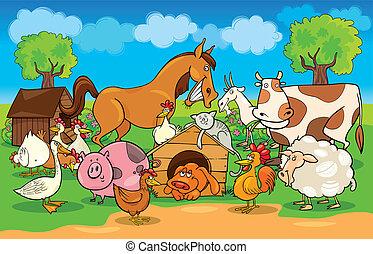 spotprent, landelijke scène, met, boerderijdieren