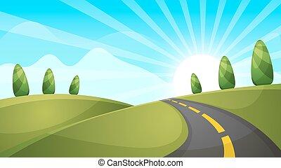 spotprent, landscape, illustration., sun., wolk, hill.