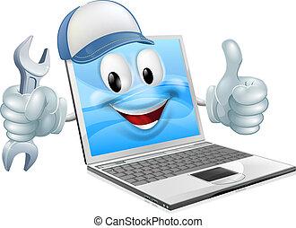 spotprent, laptop computer, herstelling, mascotte