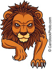 spotprent, leeuw, aanvallen