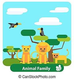 spotprent, leeuw, bomen, gezin, vogels