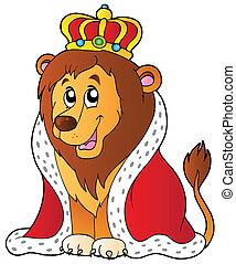 spotprent, leeuw, in, koning, uitrusting