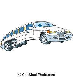spotprent, limousine, auto