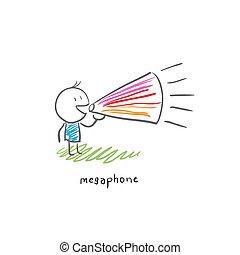 spotprent, man, en, loudhailer., illustration.