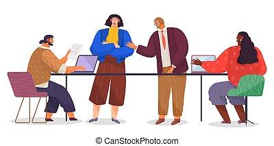spotprent, man, laptops., subordinates., hoofd, progress., kantoor, plat, werkmannen , beeld, vrouw