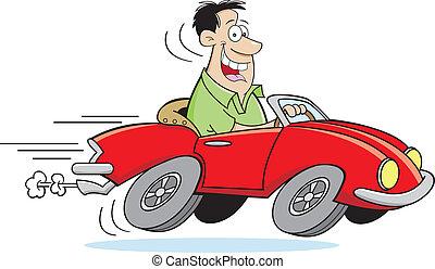 spotprent, man te rijden, een, auto