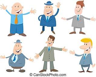 spotprent, mannen, set, of, karakters, zakenlieden