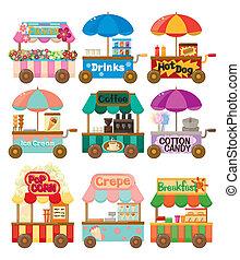 spotprent, markt, winkel, auto, pictogram, verzameling