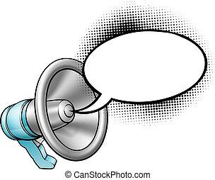 spotprent, megafoon, en, tekstballonetje