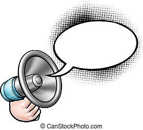 spotprent, megafoon, tekstballonetje