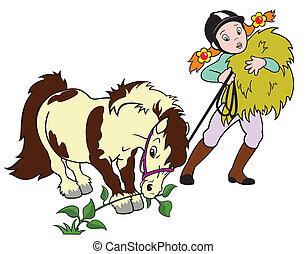 spotprent, meisje, grazen, pony