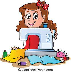 spotprent, meisje, met, naaimachine