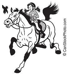 spotprent, meisje, paardrijden, paarde