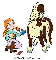 spotprent, meisje, verzorgen, pony