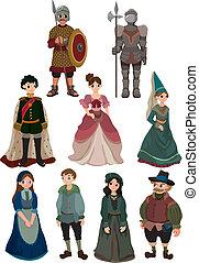 spotprent, middeleeuws, mensen, pictogram