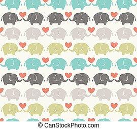 spotprent, model, seamless, elefant
