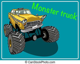 spotprent, monster, truck.