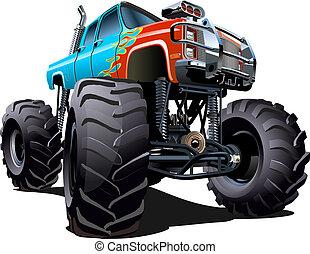 spotprent, monstervrachtwagen
