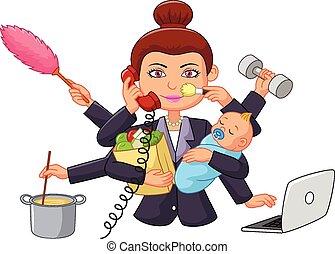 spotprent, multitasking, huisvrouw