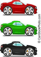 spotprent, muscle, auto