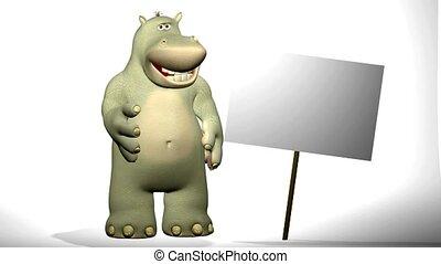 spotprent, nijlpaard, met, leeg, teken.