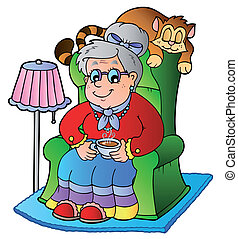 spotprent, oma, zittende , in, leunstoel