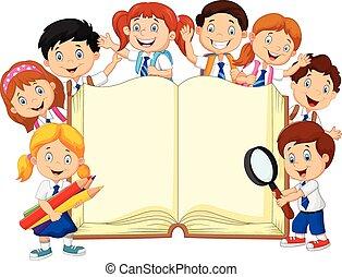 spotprent, onderricht kinderen, met, boek